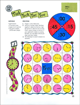 Tick Tock Tac Toe (Time): One-Page Math Game