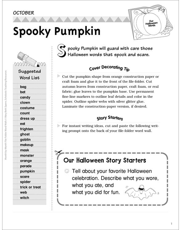 spooky pumpkin halloween word wall