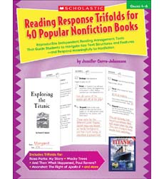 Reading Response Trifolds For 40 Popular Nonfiction Books Grades 4