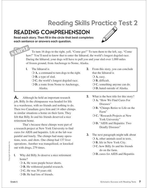 Scholastic Success With Reading Tests Grade 5 By