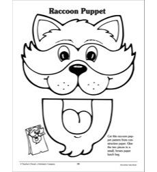 Raccoon Paper Bag Puppet Pattern