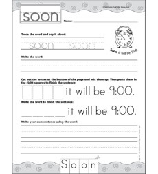 Interactive Practice Page (Sight Word: Soon): Write-and-Learn Practice Page