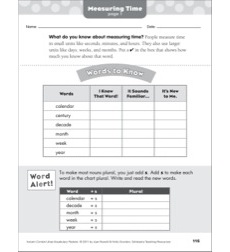 Measuring Time: Math Vocabulary Packet