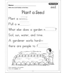 Plant a Seed (Word Family -eed): Word Family Poetry Page