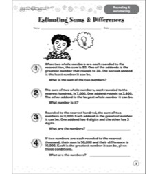 Estimating Sums & Differences (Rounding & Estimating): Scholastic Success With Math (Grade 6)