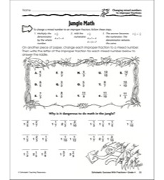 Jungle Math (Changing Mixed Numbers to Improper Fractions): Scholastic Success With Fractions (Grade 4)